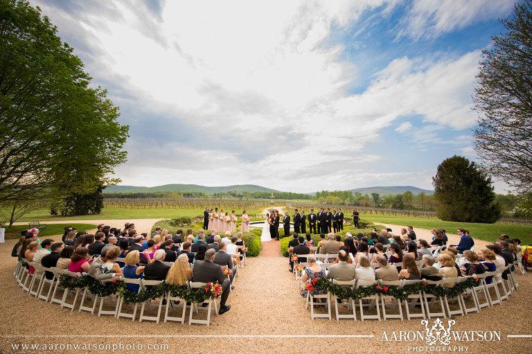 Keswick Vineyards Wedding Outside Ceremony Fountain